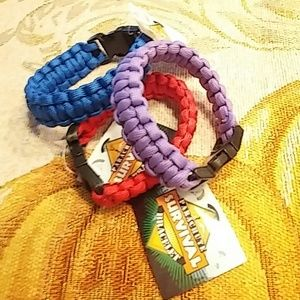 Jewelry - Survival bracelets purple, red and blue.